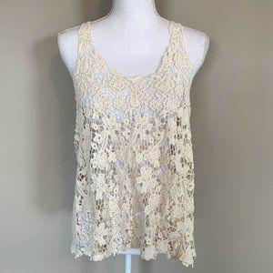 Cream Boho Crochet Open Knit Racerback Tank Top